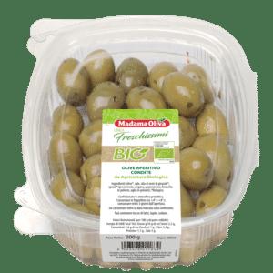 Olive-Aperitivo-condite da agricoltura biologica linea-freschissimi bio Madama Oliva