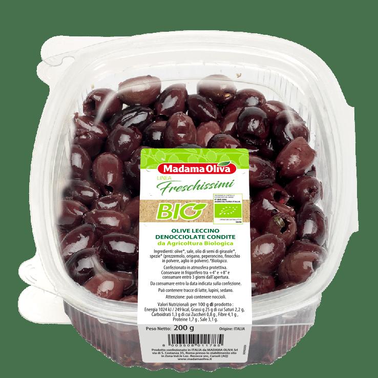 Olive-Leccino-Denocciolate-Condite-da agricoltura Biologica-linea-freschissimi Madama Oliva