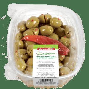 Olive Nocellara Etnea Schiacciate Condite Linea Freschissimi Madama Oliva