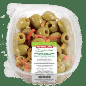 Olive Verdi Denocciolate Giganti Rustiche del Contadino Halkidiki Linea Freschissimi Madama Oliva