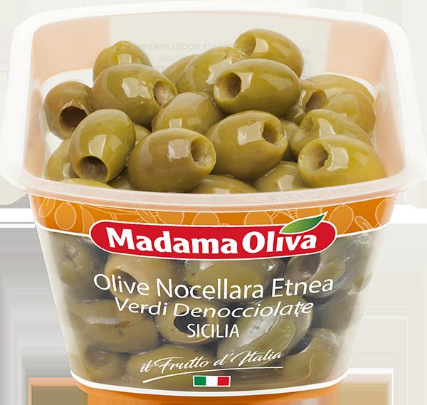 Olive-Nocellara-Etnea-verdi-denocciolate-Sicilia-Frutto-d'Italia-Madama-Oliva