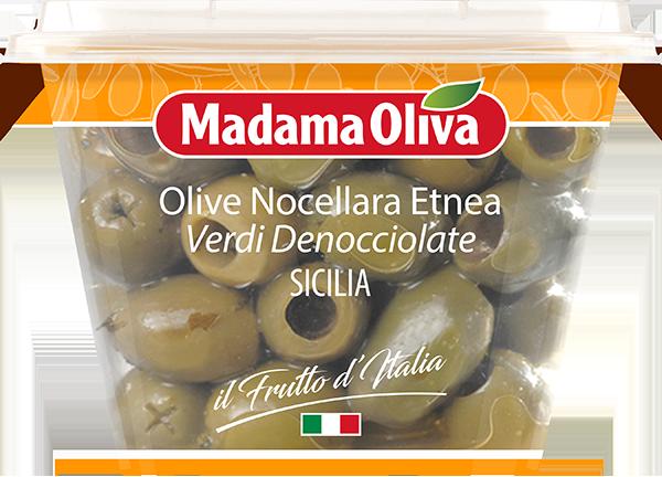 Olive Nocellara-Etnea-verdi-denocciolate-Sicilia-Frutto-d'Italia-Madama-Oliva