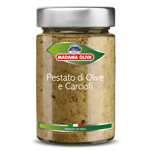 Pestato-olive e carciofi-linea-pestati-in-vasi-madama oliva